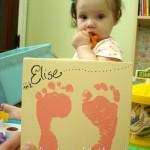 Baby footprints keepsake painting