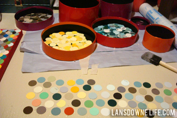 Repurposed paint chip scalloped wall art - Lansdowne Life