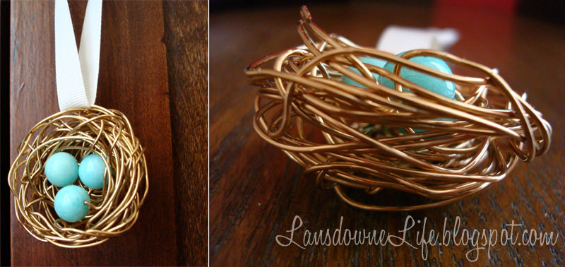 Wire bird nest ornament