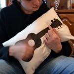 Ukulele appliqué pillow