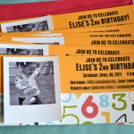 Numbers birthday party invitations