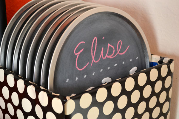 DIY pizza pan chalkboard party favors