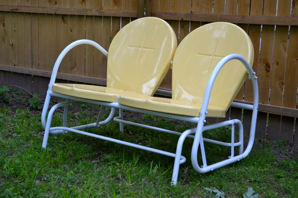 New outdoor furniture sunny yellow retro glider for Outdoor furniture yellow