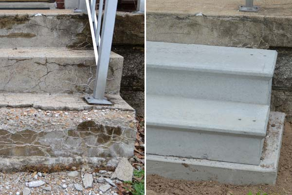 how to fix a crumbling concrete step