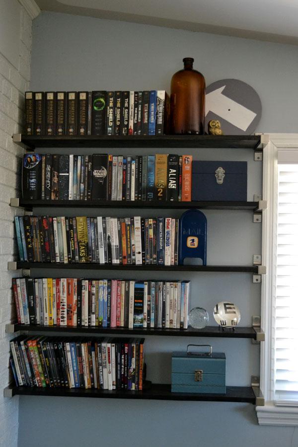 Custom open shelving for DVD storage