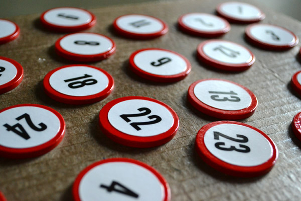 Printed numbers for advent calendar