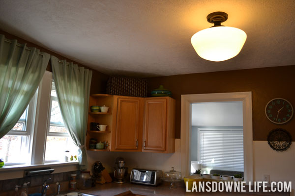 My vintage schoolhouse light is up and its pretty lansdowne life mozeypictures Images