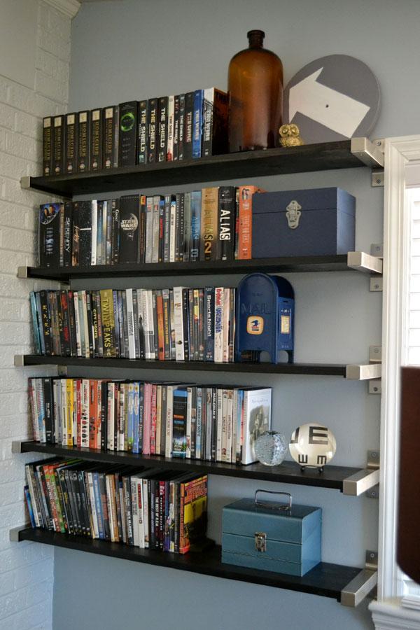 Open shelving for DVD storage