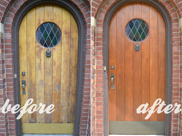 Refinishing An Old Wood Front Door Before And After