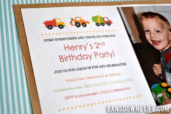 Constructionthemed birthday party Lansdowne Life – 2 Year Old Birthday Invites
