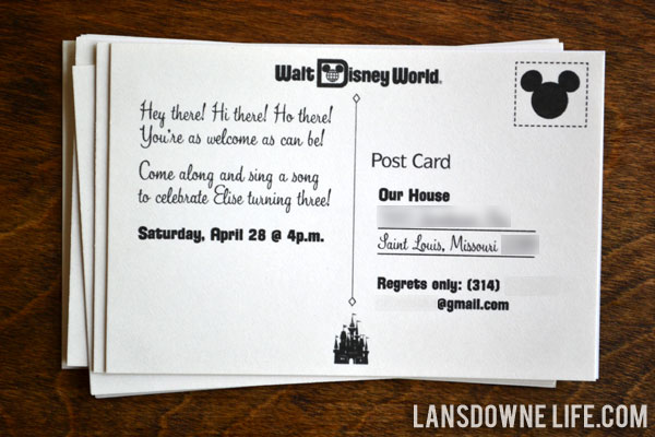 Disney World Birthday Party Postcard Invitation