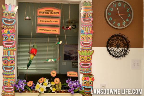 Disney world magic kingdom birthday party decorations for Tiki room decor