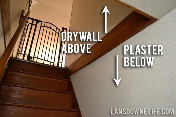 Stairway Makeover Removing The Wallpaper Lansdowne Life Chart Plaster Drywall