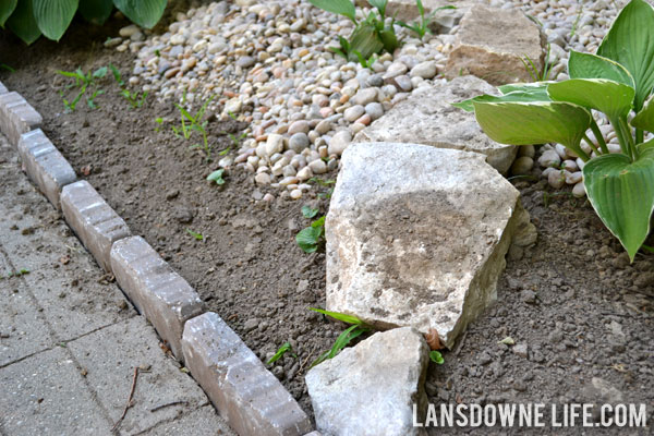 concrete edger stones. landscaping bed with hostas and river rock concrete edger stones t