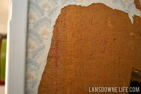 Stairway makeover removing the wallpaper lansdowne life - Easy peel off wallpaper ...