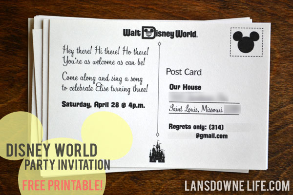 Free printable disney world postcard party invitation lansdowne life free printable disney world postcard party invitation stopboris Choice Image