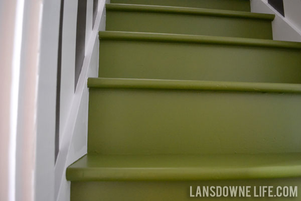 Green painted stairs