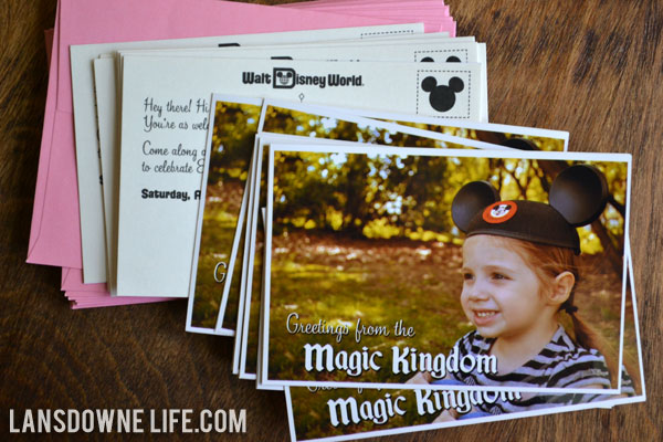 Disney World Birthday Party Postcard Invitation