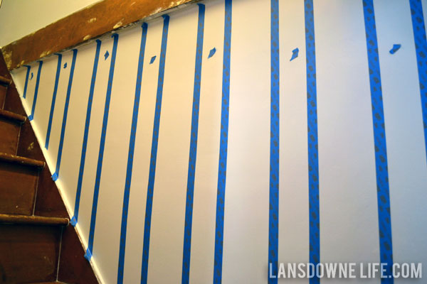 Stairway progress: Painted wall stripes - Lansdowne Life