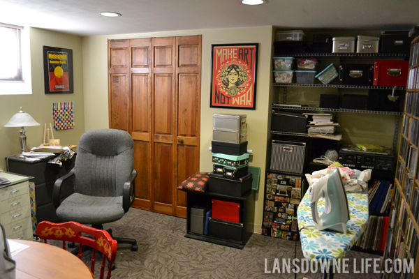 is our basement office it s the only finished space in our basement
