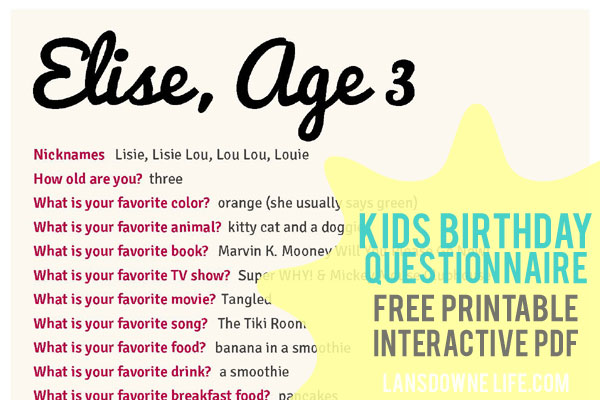 Kids Birthday Questionnaire - Free Printable