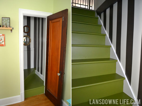 Painted green stairway makeover reveal