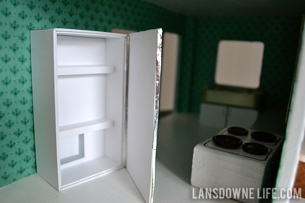 Homemade dollhouse refrigerator