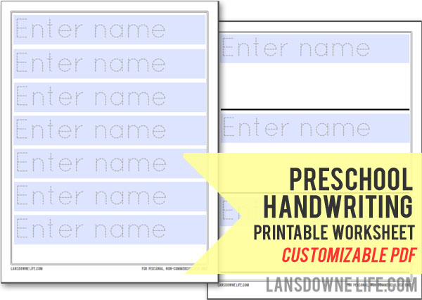 Preschool handwriting worksheet FREE printable Lansdowne Life – Name Tracer Worksheets