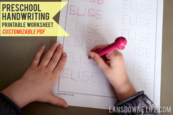 Preschool Handwriting Worksheet Free Printable Lansdowne Life