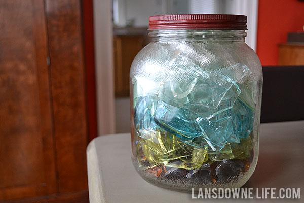 Backyard treasure glass in a vintage jar