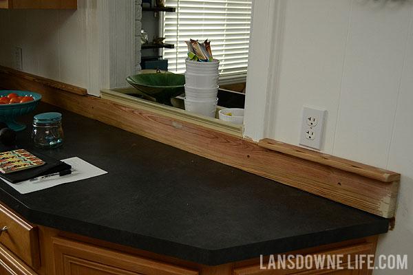 Painted Wood Molding Kitchen Backsplash