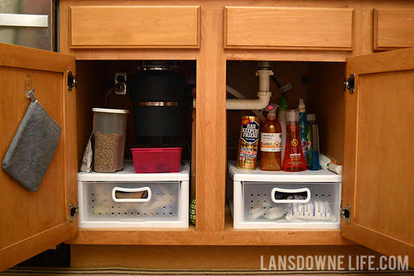 Organizing the cabinet under the kitchen sink lansdowne life for Under counter bathroom storage ideas