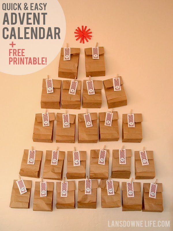 Diy Calendar Free : Last minute diy advent calendar free printable number