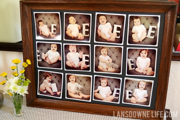 Monthly photo display for first birthday party