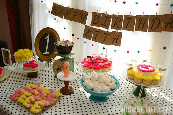 Dessert table for first birthday party