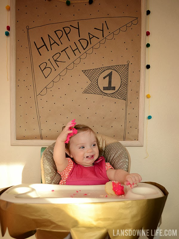 Hand drawn happy birthday poster for first birthday party