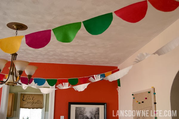 Colorful scalloped felt and paper fringe birthday party banners