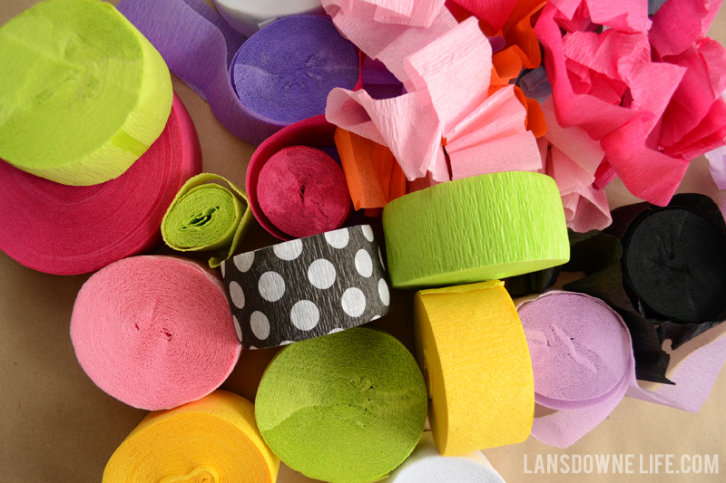 Rolls of crepe paper for surprise balls