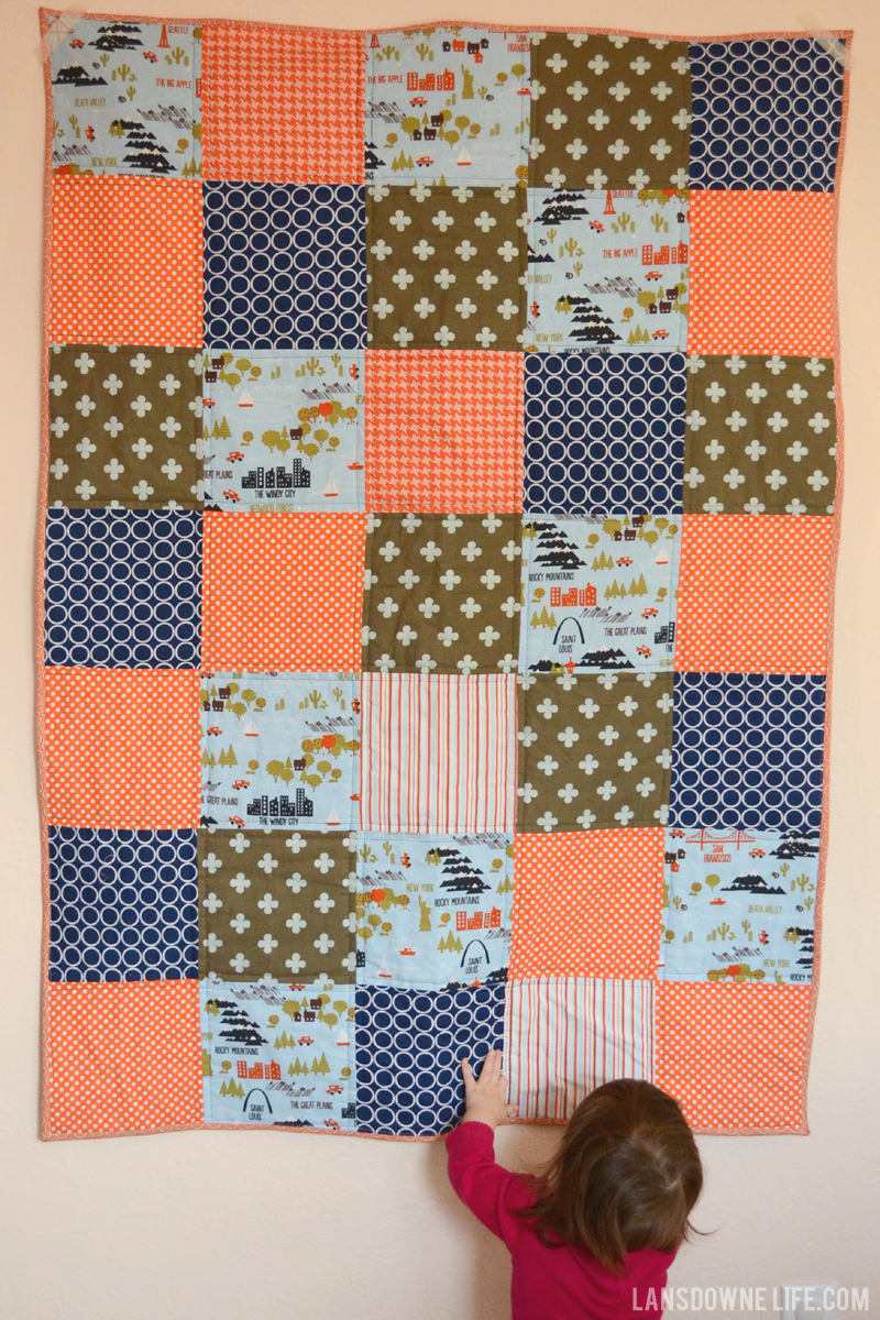 Orange and navy blue baby boy quilt - Lansdowne Life : blue and orange quilt - Adamdwight.com