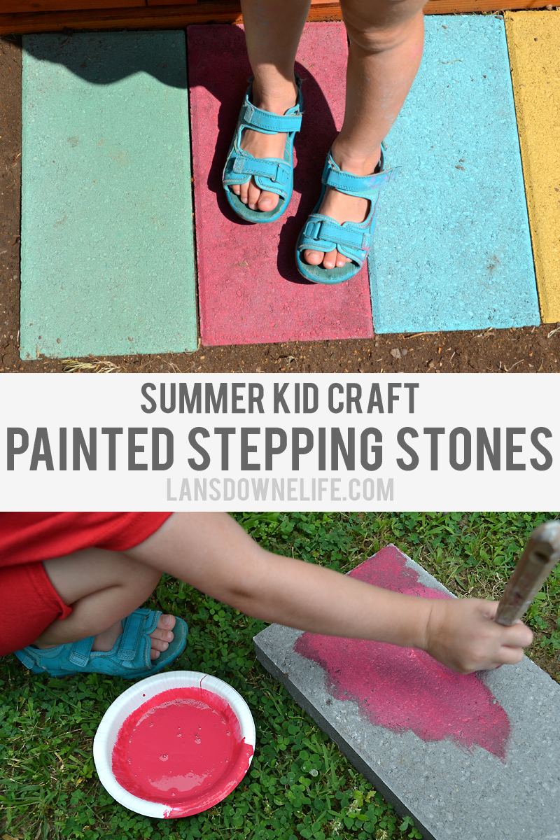 Summer kid craft: Painted stepping stones