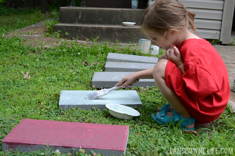 Painting concrete stepping stones