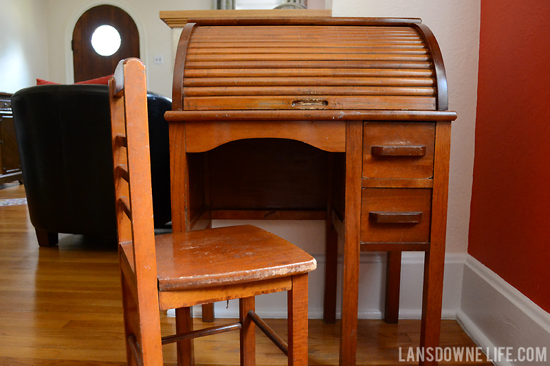 Kid size roll top desk - Vintage Finds: Mid-century Chair, Curtains, & More - Lansdowne Life