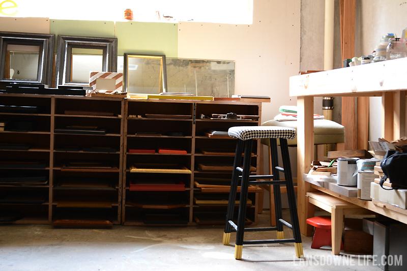 Painting studio drying shelves
