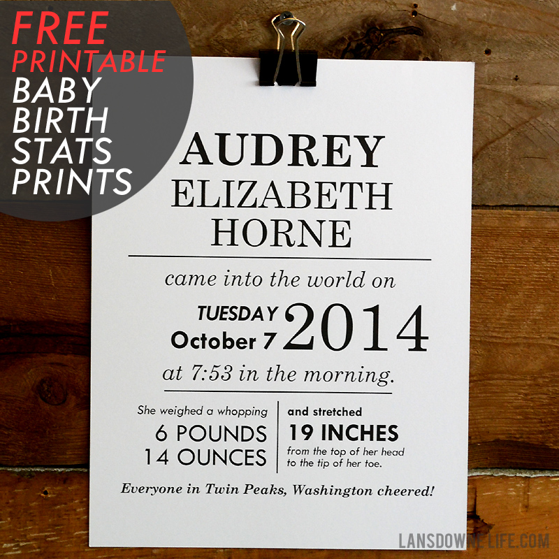 FREE Printables Baby Birth Stats Wall Art Lansdowne Life