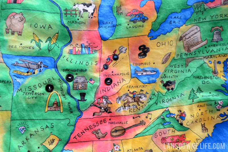USA map blanket for kids