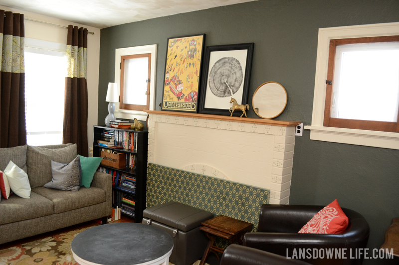 Living room with greenish gray walls