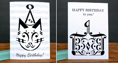 Music note birthday cards