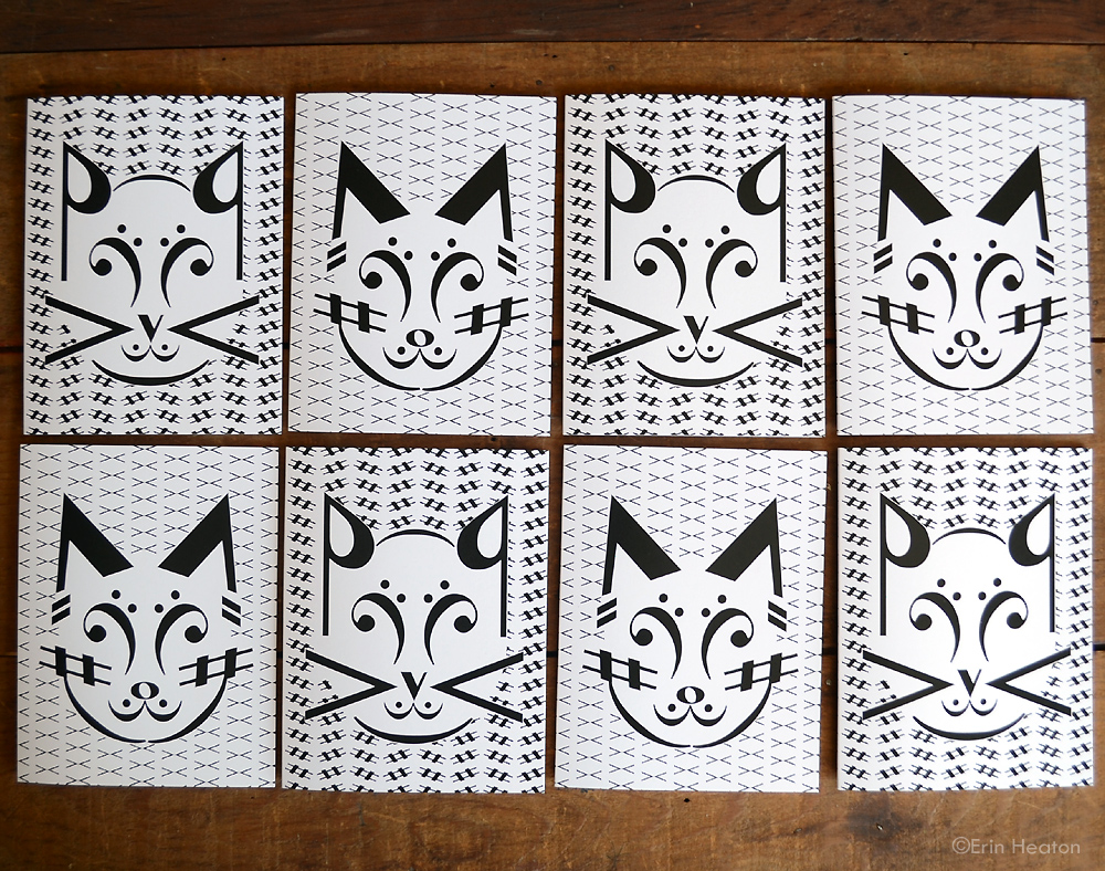 Music note cat greeting cards by Erin Heaton