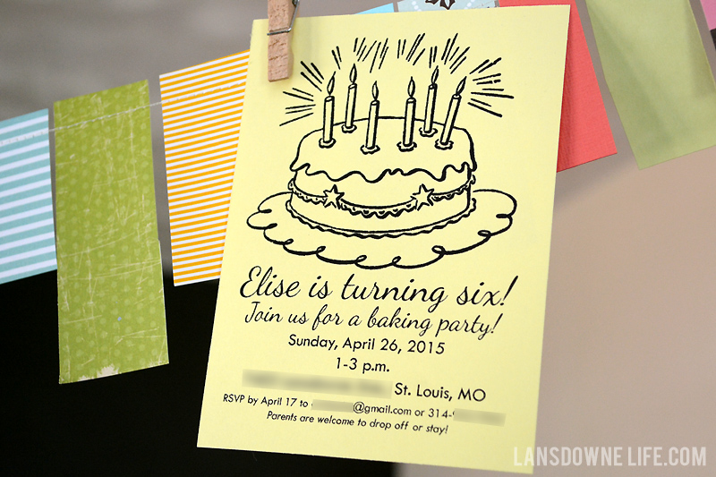 Baking party invitation