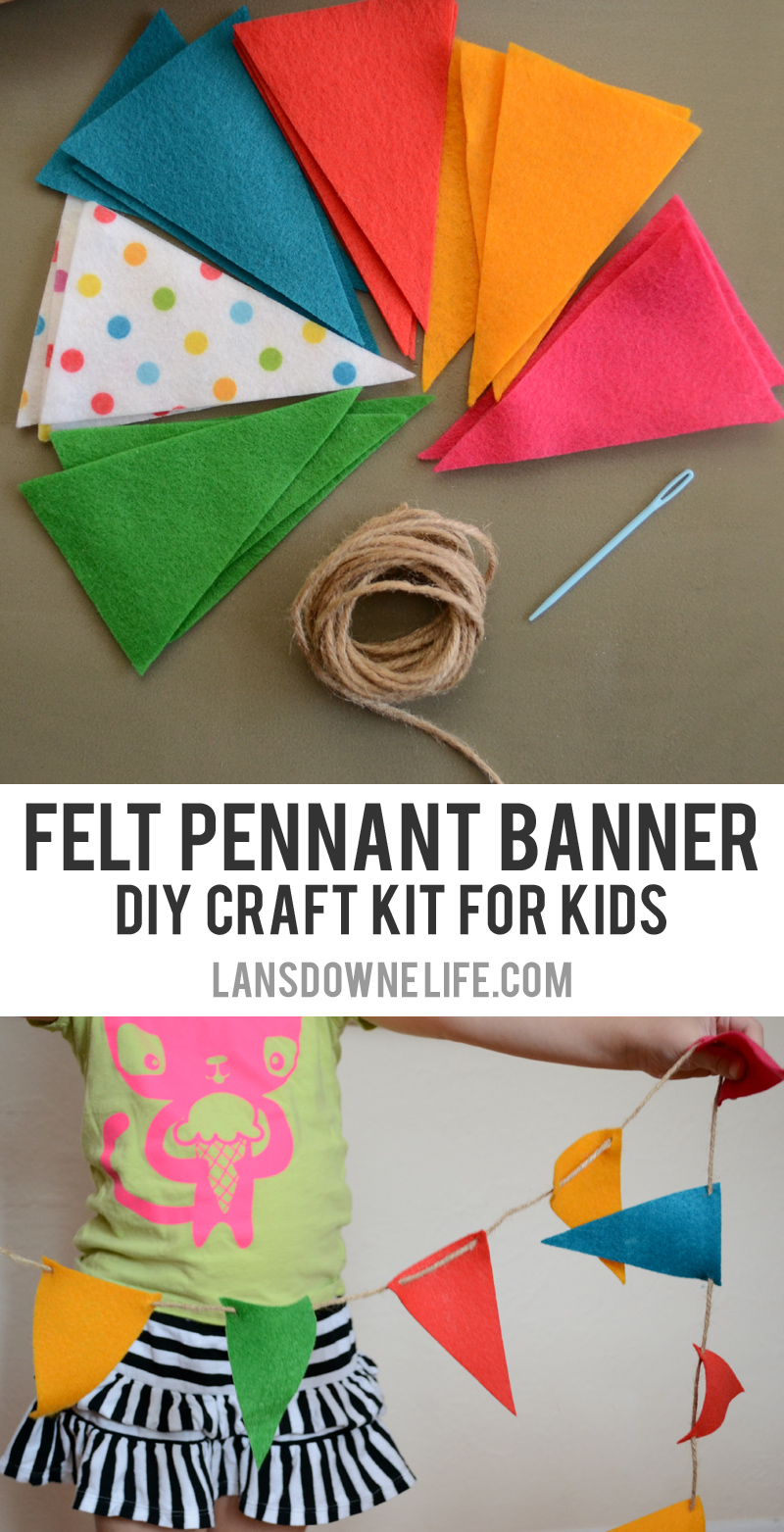 diy craft kits for kids felt pennant banner lansdowne life. Black Bedroom Furniture Sets. Home Design Ideas